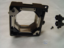 the front plastic clip of the JVC PK-CL120U replacement lamp