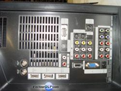 Samsung HL-T5076X Area de conecciones