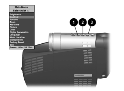 Compaq MP2810_projector_lamp_215464-001_menu