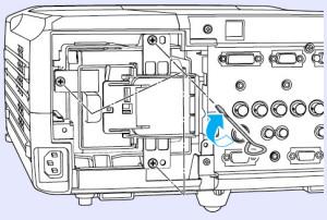 Epson_EMP-9300_tighten_ELPLP23_projector_lamp_screws