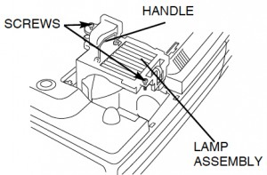 Sanyo PLC-XT10 projector lamp cover, Sanyo POA-LMP48 service part no 610-301-7167