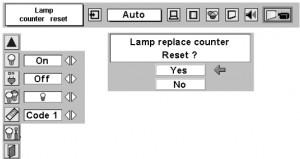 Sanyo PLC-XT10 projector lamp reset counter, Sanyo POA-LMP48 service part no 610 301 7167