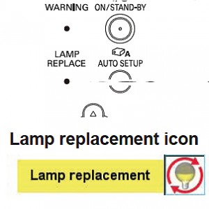 Sanyo PLC-XR301 Lamp Replace Icon, Sanyo POA-LMP132 (service parts no 610 345 2456)