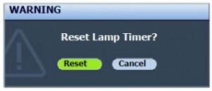 BenQ SP830 lamp reset message, BenQ 5J.J1Y01.001