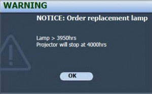 BenQ SP830 second lamp warning screen, BenQ 5J.J1Y01.001 lamp