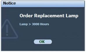 BenQ MP522 lamp warning message, BenQ 9E.Y1301.001 lamp