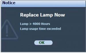 BenQ MP22 third lamp warning message, BenQ 9E.Y1301.001 lamp