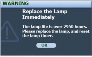 BenQ MP770 second lamp warning, BenQ 5J.J1S01.001 lamp