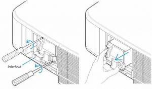 NEC_NP1000_projector_remove_NEC-NP01LP_lamp