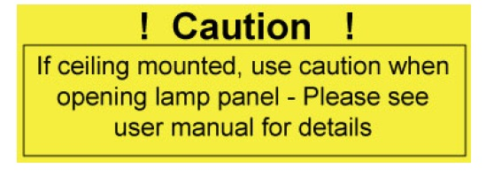 Optoma HD65_Optoma BL-FS180C_warning_for_ceiling_mounted