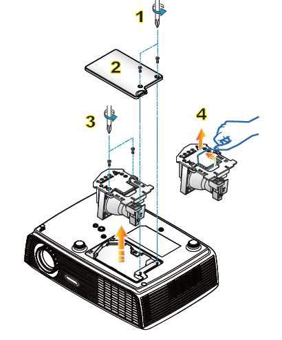 Optoma_PRO160S_install_new_BL-FU185A_projector_lamp