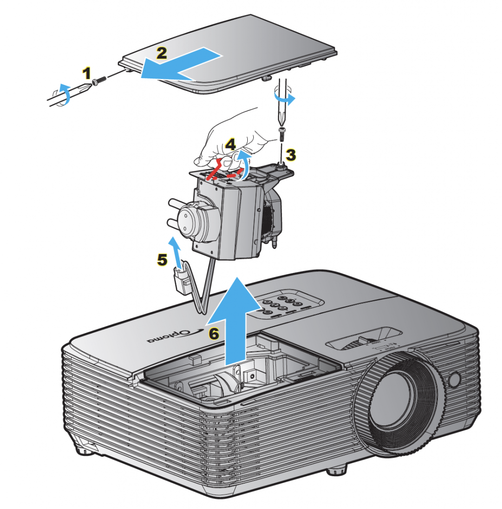 Optoma_projector_HD143X_replace-lamp