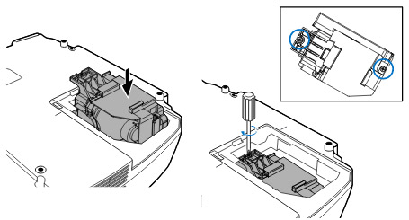 Projector_VT480_install_new_NEC-VT85LP_projector_lamp