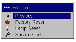 ASK Proxima M1 service menu, ASK Proxima SP-LAMP-013