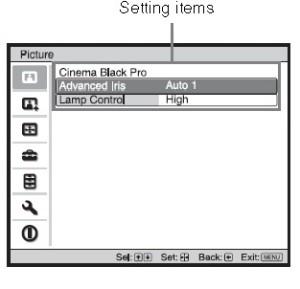 Sony_VPL-HW30ES_setting_items