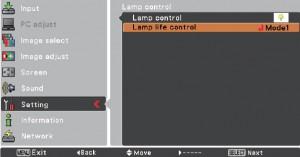 Sanyo PLC-XW200/ PLC-XW250 Lamp Control Screen 2, Sanyo POA-LMP132 (service parts no 610 345 2456)