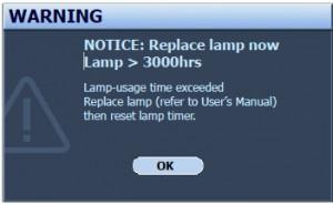 BenQ W6500 Final Warning Lamp Message, BenQ 5J.J2605.001 lamp