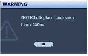BenQ W6500 Second Warning Message, BenQ 5J.J2605.001 lamp
