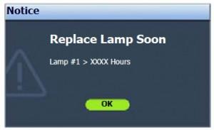 BenQ SP920P Lamp Warning Message 2, BenQ 5J.J2D05.001 lamp