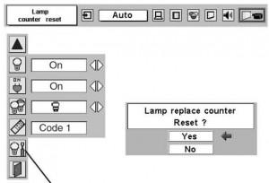 Sanyo PLC-XT16 lamp replace counter, POA-LMP59 service parts no 610 305 5602