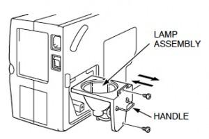 Sanyo PLC-XP17 projector lamp cage, Sanyo POA-LMP24 (service part no 610 282 2755)