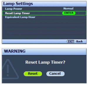 BenQ W6500 lamp reset screen, BenQ 5J.J2605.001 lamp