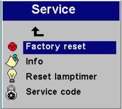 ASK DP-1000X lamp reset menu, ASK Proxima SP-LAM
