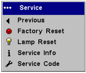 ASK Proxima C410 Service Menu, ASK Proxima SP-LAMP-012