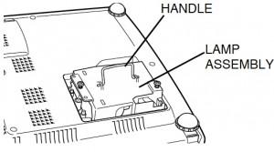 Sanyo PLC-SW20 projector lamp assembly, Sanyo POA-LMP36 (service part no 610 293 8210)